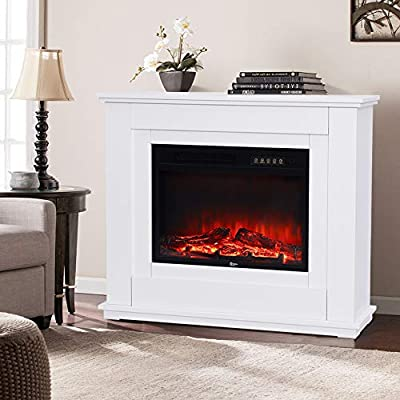 DKIEI Electric Fireplace Suite Electric Fires with Remote Control Timer Adjustable Thermostat and Flame Effect 2 Heat Settings