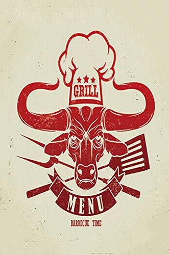 Grill Menu Cafe Poster Metal Indoor & Outdoor Home Bar Coffee Kitchen Wall Decor Metal Tin Wall Stickers 8x12 inch