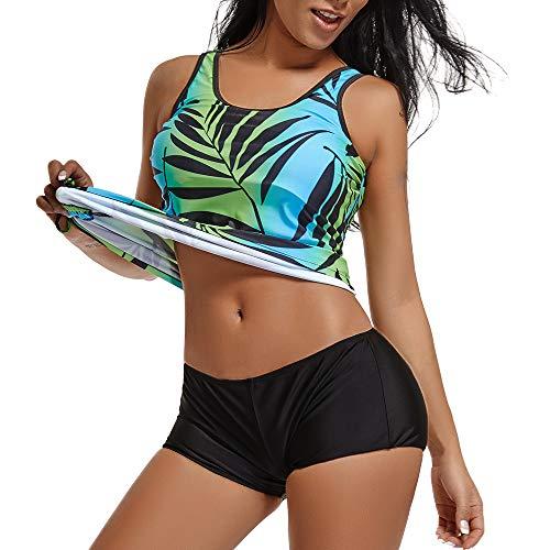RIOJOY Damen Sport Tankini Set Push Up Bauchweg Bikini Set Ohne Bügel Badeanzug mit Abnehmbaren Polsterung Verstellbaren Schultergurten Stil 5 (Ohne Verstellbaren Träger) XXL