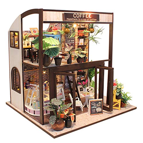 Fsolis DIY Dollhouse Miniature Kit with Furniture, 3D Wooden Miniature House with Dust Cover and Music Movement, Miniature Dolls House kit Coffee House M27