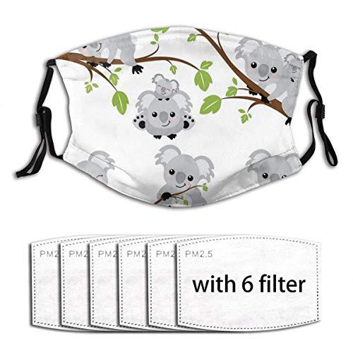 Mundschutz Cartoon Baby Koalas verstellbare Anti-Staub-Gesichtsabdeckung Waschbares Tuch mit Filterpapier für Männer Frauen
