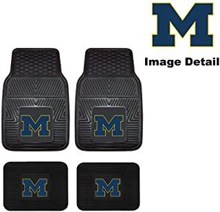 U-M University of Michigan Wolverines Front & Rear Car Truck SUV Vinyl Car Floor Mats - 4PC