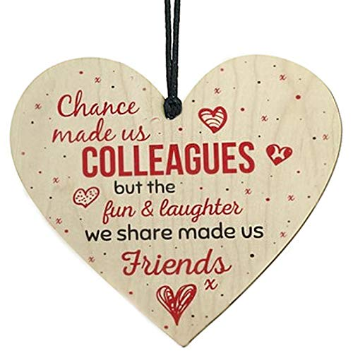 Handmade Wooden Hanging Heart Plaque Gift for Colleagues Work Friendship...