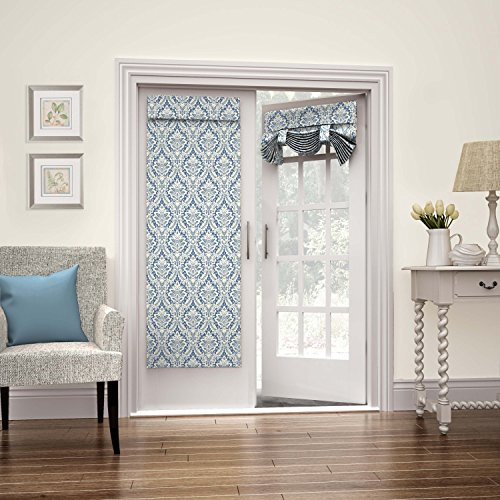 """WAVERLY French Door Curtain-Donnington 26"""" x 68"""" Tie Up Light Filtering Single Panel Drapes for Patio, Living Room and Bedroom, Cornflower"""