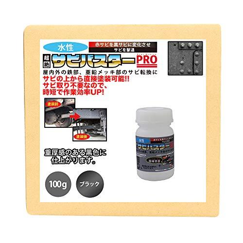 国産 水性 錆転換塗料 ブラック 超絶さびバスターPro 100g/水性塗料 サビ止め 1液 サビ転換 錆転換 ホールド 錆止め