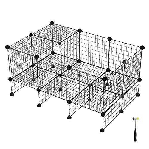 SONGMICS 20 + 12 Metallgitter Haustier-Laufstall mit Bodenplatten, Freigehege, individuell erweiterbarer DIY-Tierlaufgitter, für Welpen, Kaninchen, Meerschweinchen, inkl. Gummihammer, für Inneneinsatz, LPI03H