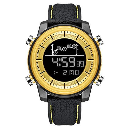 Mens Digital Sports Reloj Deportes LED Pantalla LED Cara Grande Relojes Militares para Hombres A Prueba De Agua Casual Luminoso Cronómetro Alarma Simple Ejército Reloj,Oro