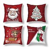 Anyingkai 4PCS Fundas Cojines de Navidad,Cojines Navideños para Sofa,Cojines Decorativos para Sofa Navidad,Cojines Navidad,Funda de Almohada de Navidad (Dibujos Animados Rojo)