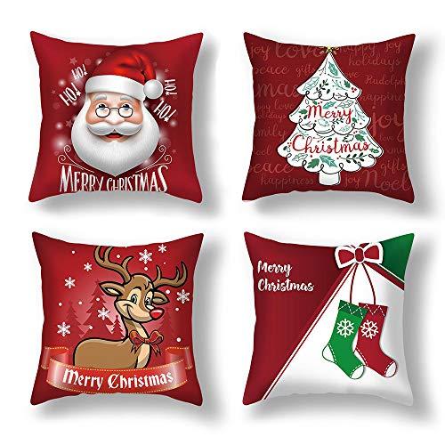Anyingkai 4PCS Fundas Cojines de Navidad,Cojines Navideños para...
