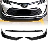EPARTS 3 Pieces Style Carbon Fiber Style ABS Front Bumper Lip Spoiler Side Body Kit Trim Protection Compatible with 2019-2020 Toyota Corolla