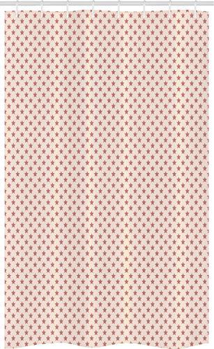 ABAKUHAUS Pastel Douchegordijn, Repetitive Stars zachte tinten, voor Douchecabine Stoffen Badkamer Decoratie Set met Ophangringen, 120 x 180 cm, Droog nam en Champagne
