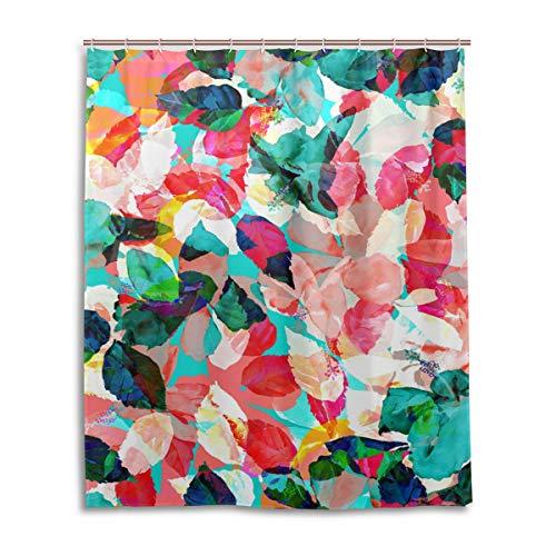 JSTEL Decor Rideau de Douche en Tissu 100% Polyester Motif Feuilles Multicolores 152 x 183 cm