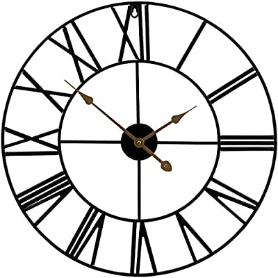 """Sorbus Large Decorative Wall Clock, 24"""" Round Oversized Centurian Roman Numeral Style Modern Home Decor Ideal for Living Room, Analog Metal Clock (Black)"""