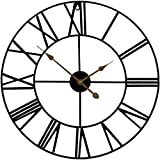 "Sorbus Large Decorative Wall Clock, Oversized Centurian Roman Numeral Style Modern Home Decor Ideal for Living Room, Analog Metal Clock, 24"" Round (Black)"