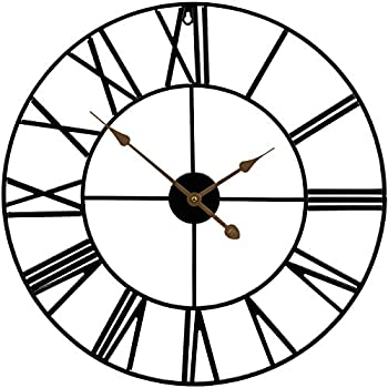 Sorbus Large Decorative Wall Clock 24 Inch Oversized Centurian Roman Numeral Style Modern Home Decor Ideal for Living Room Analog Metal Clock 24  Round  Black