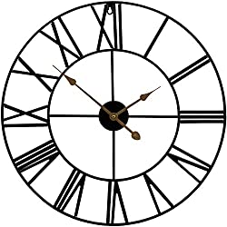 Sorbus Large Decorative Wall Clock, Oversized Centurian Roman Numeral Style Modern Home Decor Ideal for Living Room, Analog Metal Clock, 24 Round (Black)