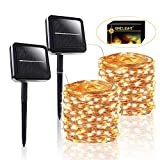 BHCLIGHT Solar String Lights, 2-PACK 200 LED Copper Wire Lights 8 Modes Solar Fairy Lights Waterproof Indoor/Outdoor Decoration String Lights for Garden, Yard, Patio, Lawn, Party, Wedding (Warm White)
