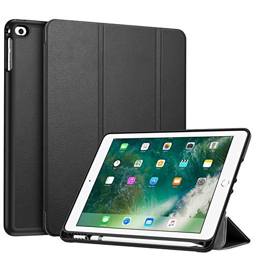 Fintie for iPad 9.7 2018 2017 ケース Apple Pencil 収納可能 ペンホルダー付き 軽量 超薄 三つ折 スタンド オートスリープ機能付き iPad 9.7 第6世代 / 第5世代 / iPad Air 2 / iPad Air 対応 (モデル番号A1822、A1823、A1893、A1954) (ブラック)