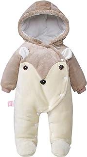Traje de Nieve Bebé Ropa de Invierno con Capucha Cálido Mameluco del Bebé Botón Frontal
