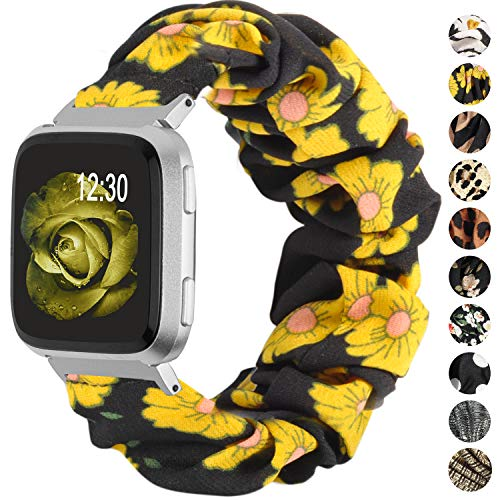 TOYOUTHS Scrunchie Bands Compatible with Fitbit Versa/Versa 2/Versa Lite Special Edition Women Elastic Fabric Strap Pattern Replacement Bracelet Wristband Accessories(Sunflower, Small)