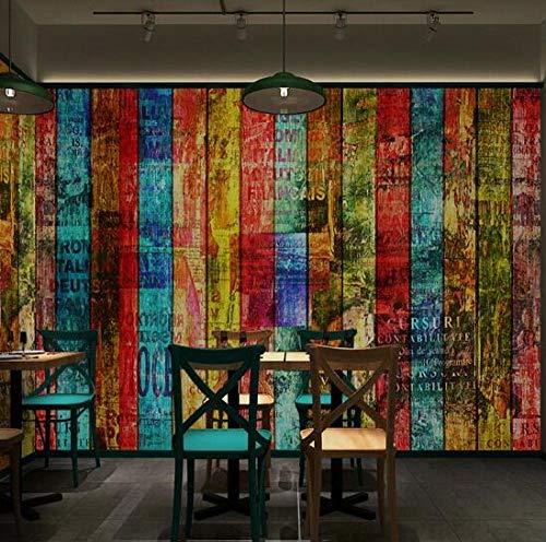 3D vliesbehang foto vlies premium fotobehang textured meerkleurig houten behang-letter-planken-wandschildering-behang voor wand-foto-wandschilderij van Bar-Hip-Hop-3D 350*245 350 x 245 cm.