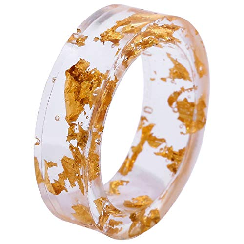 COSYOO Bague de phalange en résine transparente ronde faite à la main - - moyen