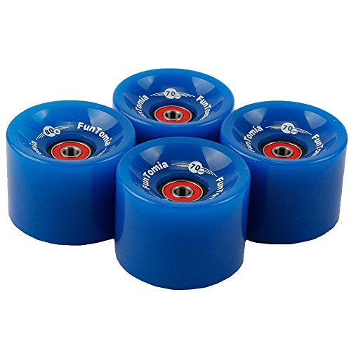 FunTomia 4 Stück Longboard/Skateboard Rollen (Big Wheels) in 70x51mm 80A oder 70x51mm 86A inkl. Mach1® Kugellager (blau / 80A Rollenhärte)