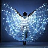 WUPYI2018 LED Isis Flügel,360° Isis Wings Weiß Flügel Bauchtanz Kostüme mit Stöcke,für Dance...