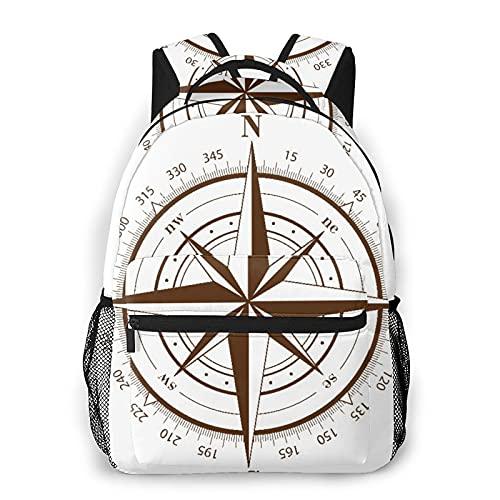 """USOPHIA Casual Rucksack,Karte Brauner Kompass Rose Weiß Nautisch,Business Daypack Schultasche für Männer Frauen Teen Women 16\""""X11.5\"""""""