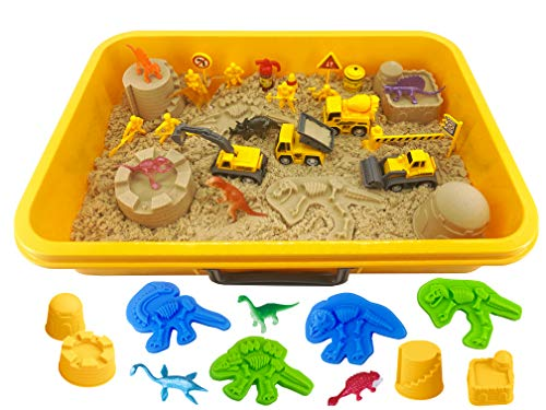 INvench Construction Dinosaur Play Sand Set  38 Pieces Sand Kit Include 2 lbs Magic Sand Construction Vehicle Dinsoaur Figures Dinosaur amp Castle Molds for 3 4 5 Year Old Toddlers Kids