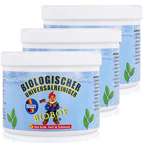 Bioboy Universalreiniger 3x500g inkl. Schwamm,für Keramik,Spülen,Ceranfelder,Badewannen,Duschen,Kunstoffenster,Motorräder,hautverträglich.Als Entkalker für Bad,Küche, organische Inhaltsstoffe