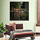 JKHKJ Mural 4 Piezas Pintura En Lienzo,4 Piezas Cuadro Lienzo Bicicleta con Paisaje Actual Modular Moderna 4 Piezas,Mural Pared Salon 3D,Decorativo Pared,Listo para Colgar,Creative Gift XXL 30X30Cm