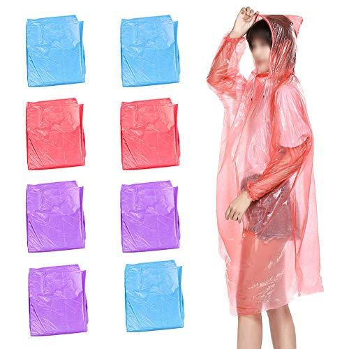 CYSJ 8 PCS Regenponcho Mit Kaputze, Einweg Regenponcho Wasserfester, Regenjacken Notfall Wasserdicht Regen Poncho, Kunststoff Regencape, für Outdoor Camping, Festivals, Gartenarbeit