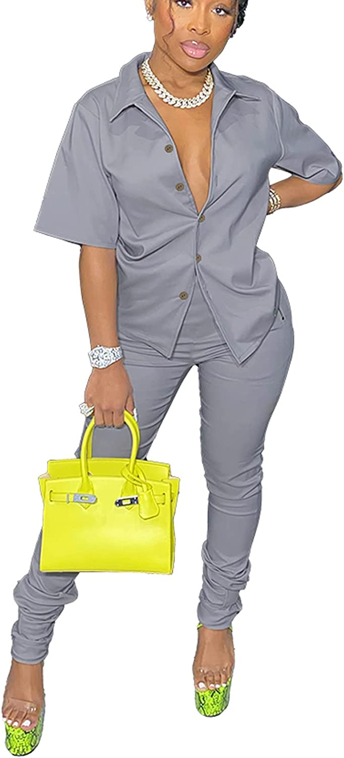bluewolfsea Womens Casual 2 Piece Outfits Button Down Shirt and Ruched Pants Set Suits Sexy Bodycon Jumpsuit