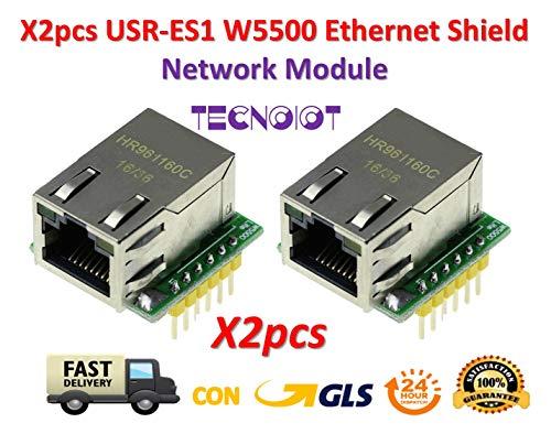 TECNOIOT 2pcs USR-ES1 W5500 Chip New SPI to LAN/Ethernet Converter TCP/IP Mod