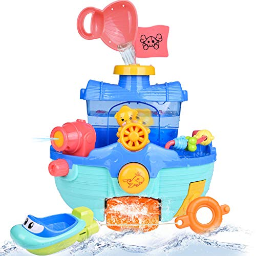 FUN LITTLE TOYS Toddler Bath Toy Boats Set, 2 Bath Boats for Kids, Bathtub Water Toys for Boys and Girls