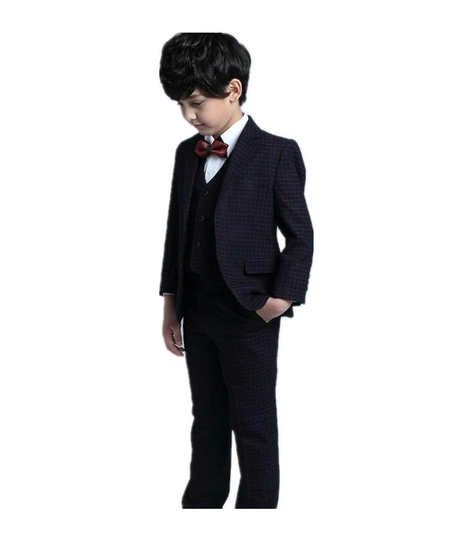 フォーマル スーツ 男の子 チェック 子供タキシード キッズ 5点セット
