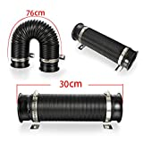 """Universal 3""""(76mm) Cold Air Intake Flexible Induction Pipe Hose Kit Silver Black From"""