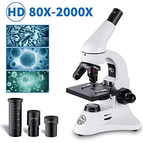 Microscopio Óptico Profesionales, 80X a 2000X Microscopios Monoculares Biológicos para Adultos y Estudiantes y Niños con Diapositivas Preparadas