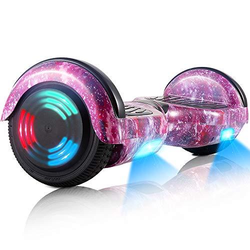 Hoverboard, 6,5 inch tweewielige zelfbalancerende Hoverboards - LED licht wiel scooter voor kinderen (paarse sterren)