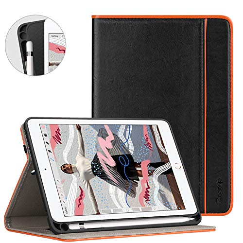 ZtotopCase Cover per Nuovo iPad Mini 2019 con portamatite,Premio Pelle Affari 2019 iPad Mini 5 7.9 Pulgada Custodia Case,Auto Wake & Sleep,Documento Carta Slot,Multi-Angolo,Nero