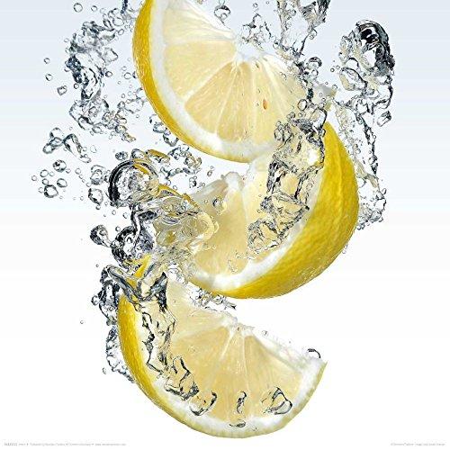 REINDERS Glasbild - Deco Glass - Motiv Zitronen Splash - 30 x 30 cm