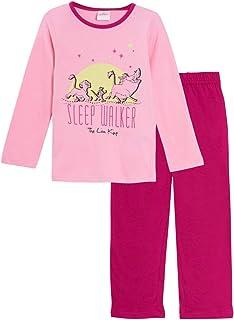 Pijama largo fosforescente para niña, diseño de león rosa y gris de 3 a 8 años