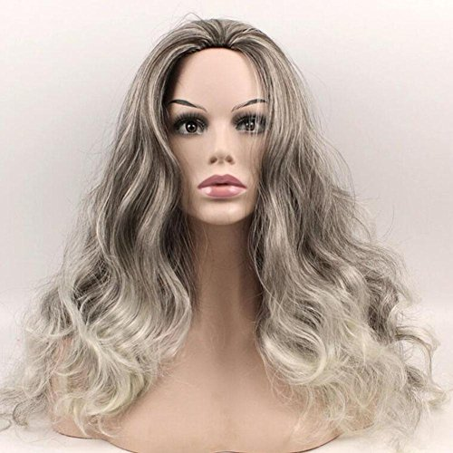 XUAN Femmes perruque modulation d'argent-blanc cheveux cosplay résistant à la chaleur naturelle long ondulé fibre Mode cheveux 60CM