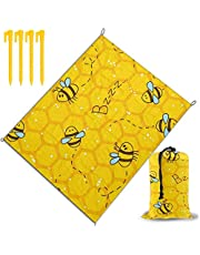 Honeybee Yellow Printed Beach Blanket, Beach Mat Outdoor Picnic Blanket Water Proof and Drying Mats, Hiking Camping Picnic for Outdoor Travel Handy Mat