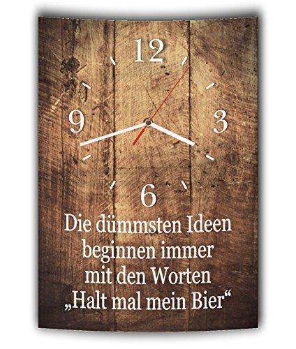 LAUTLOSE Designer Wanduhr mit Spruch Die dümmsten Ideen beginnen immer mit den Worten Halt mal mein Bier Holz Holzoptik modern Deko schild Abstrakt Bild 41 x 28cm