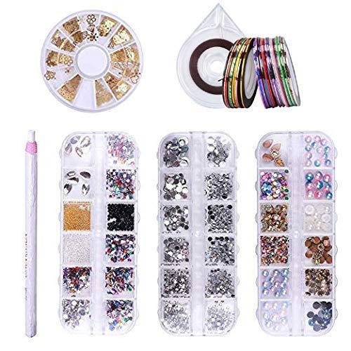 Liarty 3D-Nageldekorationsset: 4 Boxen mit Strasssteinen/Kristallen/Acrylperlen/Nagelperlen/Dekorationen, 30 Stück Striping Tape Line, 1 Striping Tape Case, 1 Dotting Pen DIY Nail Art Werkzeug