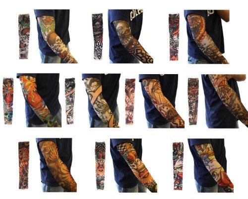 Butterme 20-teiliges Set gefälschte temporäre Tattoo-Ärmel Neuheit Body Art Arm Strümpfe Slip Zubehör Drache Schädel Tribal Muster etc.