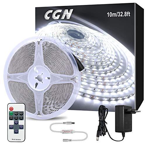 10M Striscia LED Dimmerabile, CGN Nastri LED Strisce Luminose Bianco Freddo 6000K con RF Telecomando Luci LED Strip Decorativa per Feste, Casa, Cucina, TV, Bar, ecc