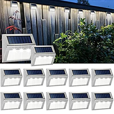 JSOT 12 Pack Solar Powered Deck Lights Wireless Bright LED Stair Lights Auto On/Off Waterproof Stainless Steel Decorative Outdoor Step Lighting for Driveway Fences Pathway Staircase (White Light)